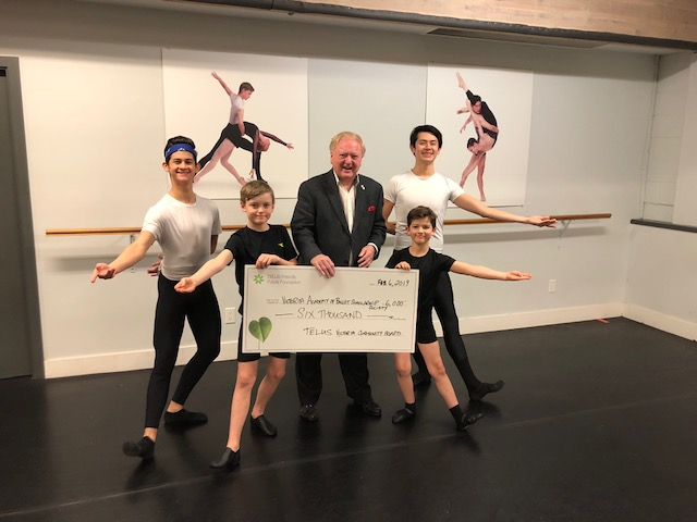 A huge THANK YOU to Mel Cooper and the TELUS Victoria Community Board for their generous donation to the Boys Can Dance program!